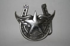 Vintage Fashion Designer Fine Powter 4636 Silver Texas Star Metal Belt Buckle