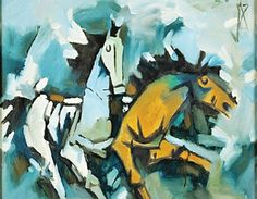 mf hussain horse painting \\ Take a walk through Indian contemporary art Galleries with our guide to Delhi NCR best galleries, where you can see exciting art works from emerging talents. Famous Artists Paintings, Indian Art Paintings, Horse Paintings, Artist Painting, Artist Art, Mf Hussain Paintings, Art Gallery In Delhi, Indian Contemporary Art, Popular Art