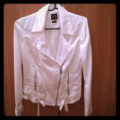 Armani Exchange white silk jacket. New! White silky feeling jacket perfect for spring! Only worn once. Brand new! Can be dressed beautifully up or down as in the pic of me dressing it down but will superb over a dress. A/X Armani Exchange Jackets & Coats