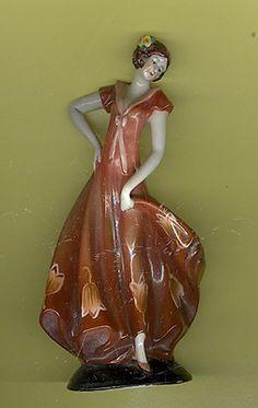 Vintage Porcelain Figurine Germany Art Deco Lady Dancing Brown Dress | eBay
