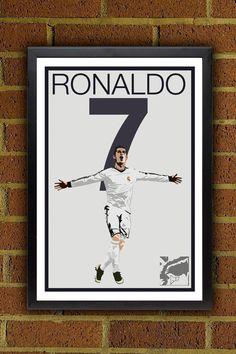 Cristiano Ronaldo 7 Poster - Real Madrid - Portugal Soccer Poster- poster, art, wall decor, home decor Soccer Room Decor, Soccer Bedroom, Football Bedroom, Real Madrid, Cristiano 7, Portugal Soccer, Real Soccer, Football Crafts, Soccer Poster
