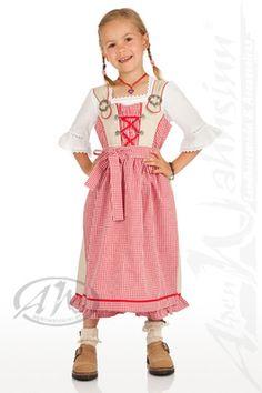 M.Stützle Trachten Kinder Landhauskleid 2tlg. - MARIE - natur/rot