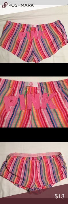 PINK Victoria's Secret Rainbow Lounge Shorts- Med Rainbow striped PINK Victoria's Secret lounge shorts size medium. Great condition and super cute!! PINK Victoria's Secret Intimates & Sleepwear Pajamas