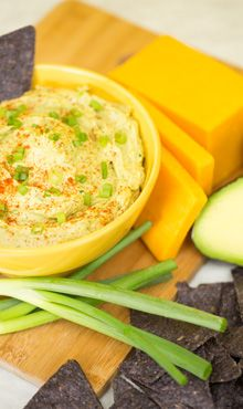 Guacamole Cheese Dip for crackers Also good on cocktail rye and /or pumpernickel bread.  Put under broiler till cheese melts slightly.