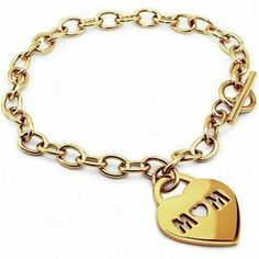 14k Gold Plated Mom Heart Tag Stainless Steel Bracelet Fantasy Jewelry Box. $49.95. 7.5 Inch Length. High Polish. 14k Gold Plating. Stainless Steel