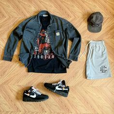 """TMC on Instagram: """"What y'all rocking #outfitgrid @outfitgrid ▪️#CarharttWIPjacket ▪️#TravisScottTee ▪️#SupremeCap ▪️#EricEmanuel #Shorts ▪️#AirMax90OffWhite"""""""