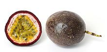 Passion fruit - the interior is pulpy, best scooped out with a small spoon.