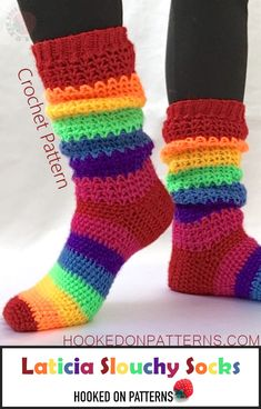 Rainbow Socks Crochet Pattern - Laticia Slouchy Socks Crochet Patterns To Wear. Crochet yourself some happy socks! #crochet #modern #pattern #cute #fun #colourful #rainbow #happy #socks #slouchy