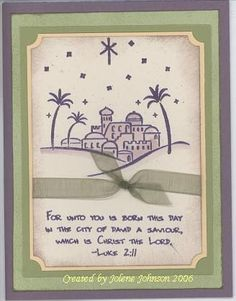 Perfect City of David Combo by - Cards and Paper Crafts at Splitcoaststampers Christian Christmas Cards, Religious Christmas Cards, Xmas Cards, Greeting Cards, Etsy Christmas, Stampin Up Christmas, Christmas Projects, Christmas Stuff, Christmas Ideas