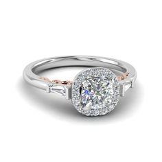 cushion cut halo diamond vintage filigree shank engagement ring in 14K rose gold FD122910CUR NL RG