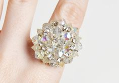 Vintage 60s OOAK Crystal Cluster Cocktail Ring / 1960s Vintage AB Bead Earring Ring