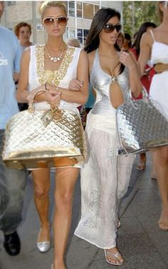 Kim Kardashian and Paris Hilton 2000s Fashion, Fashion Show, Kardashian Halloween Costume, Paris Hilton Photos, Kardashian Jenner, Material Girls, Celebs, Celebrities, Red Carpet Fashion