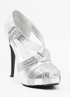 Silver Shoes with heels and platform (Style Silver Heels Prom, Silver Dress Shoes, Prom Heels, Bridal Shoes, Wedding Shoes, Bridesmaid Sandals, Bridesmaid Dress, Glitter Pumps, Fancy Shoes