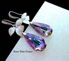 Wedding Earrings CZ Orchid Lavender Purple Blue Bridesmaid Gift Prom   Vivian-Feiler-Designs - Jewelry on ArtFire