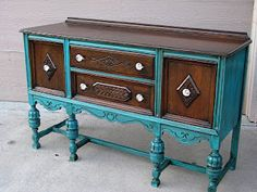 The teal buffet, Eskimos and Hezbollah.oh my - Jennifer Allwood Home Blue Painted Furniture, Old Furniture, Paint Furniture, Furniture Projects, Furniture Makeover, Painted Sideboard, Painted Buffet, Wood Buffet, Painted Tables