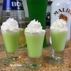 SCOOBY SNACK 1/2 oz. (15ml) Melon Liqueur 1/2 oz. (15ml) Coconut Rum 1/2 oz. (15ml) Creme de Bananas 1/2 oz. (15ml) Pineapple Juice 1 1/2 oz. (45ml) Whipped Cream. Instructions: Pour all ingredients into shaker with ice (including whipped cream). Shake and strain into shot glasses. Top with more whipped cream. Drink and be merry.