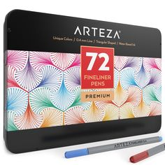 Arteza Fineliner Pens 72-Assorted-Colors (0.4mm Tips, Set of 72)