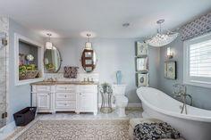 Traditional Master Bathroom with flush light, High ceiling, Freestanding Bathtub, complex marble tile floors, Master bathroom