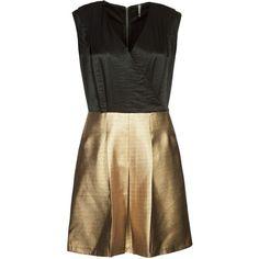 NAF NAF Cocktail dress / Party dress (1.066.475 IDR) ❤ liked on Polyvore featuring dresses, vestidos, jumpsuits, playsuits, gold and naf naf