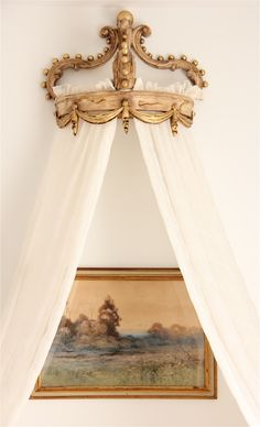 valance and sheer curtains framing painting (Castles Crowns and Cottages)
