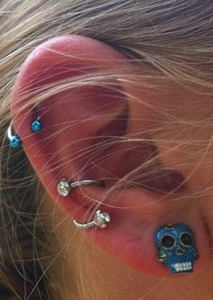 Full Unusual Ear Piercing Ideas at MyBodiArt.com - Silver Crystal Spiral Piercing Auricle Conch Earring Cinco De Mayo Skull Stud Horseshoe Barbell Pinna Cartilage Helix