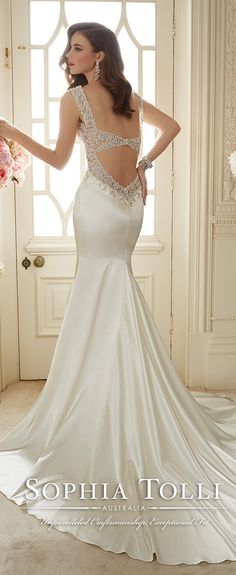 sophia tolli Venus satin wedding dresses with beautiful back spring 2016 Y11631