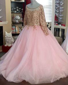 Golden sequins long pink chiffon plus size evening dress, long sleeves prom dress