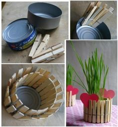 DIY Mother's Day Present: recycled tin can candle holder - dad's this would be soo easy to do with the kids - go for it! A lifetime of memories! Diy Mother's Day Presents, Family Presents, Mothers Day Presents, Kids Crafts, Tin Can Crafts, Mother's Day Projects, Craft Projects, Mini Vase, Recycled Tin Cans