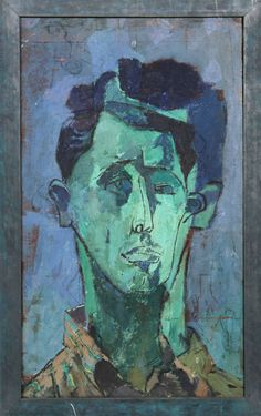 Joseph Solman Portrait of a Man (Green Face) Medium: Oil on Panel Size: 20 in. x 12 in. (50.8 cm x 30.48 cm)
