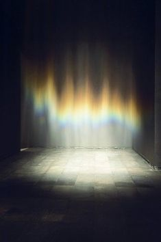 Beauty From the exhibition Take your time: Olafur Eliasson, installation view at San Francisco Museum of Modern Art Gently falling mist from the overhead sprinklers produce iridescent effects as the light is diffracted on the tiny droplets of w Land Art, Op Art, Casa Wabi, Collage Kunst, Instalation Art, Palais Galliera, San Francisco Museums, Studio Olafur Eliasson, Light And Space