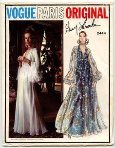 1970 Gorgeous Guy Laroche Evening Gown Pattern Vogue Paris Original 2444  Low Cut V Neckline High Waist Dress Full Sleeves Bust 36 Vintage Sewing  Patterns 5a77d6ed68c