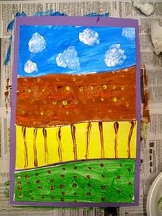 Farm Theme: Farm land - a neat technique that reinforces the value and uses of land. An easy project for young children. Good for developing fine motor skills. The paper is cut into 4 sections & then painted. Learning whilst doing a super art activity! Kindergarten Art, Preschool Crafts, Fall Preschool, Preschool Painting, Preschool Ideas, Kids Crafts, Farm Activities, Preschool Activities, Farm Unit