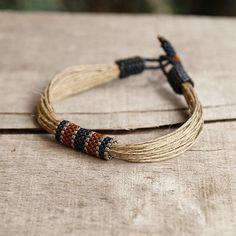 Nautical Mens Bracelet Natural Linen Braclet for men Casual