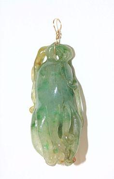 Vintage Chinese 14K Gold Carved Green Jadeite Jade Buddha's Hand Pendant #Pendant