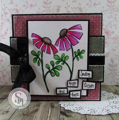 Square card made using Leonie Pujol image - Sparkle Pens - Holly leaf, smoked quartz & pink garnet.  #spectrumnoir #crafterscompanion #sparkle #colouring #handmade #craft