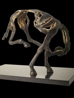 Bronze Animals and Birds at Play Sculptures statue by artist Ani Mollereau titled: 'Yipee (Small Cavorting Little bronze Stylised bronze Horse sculptures)'