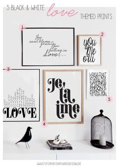 Set of 5 LOVE Themed Black & White Typography Prints - Digital Download, Printable Wall Art - Gallery Wall