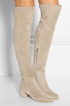 Heel measures approximately 45mm/ 2 inches Cream suede Zip fastening along side Designer color: Cashmere