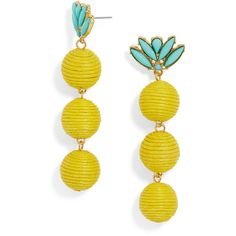 BaubleBar Kiki Drops ($42) ❤ liked on Polyvore featuring jewelry, earrings, green turquoise jewelry, green turquoise earrings, baublebar jewelry, stud earrings and pineapple jewelry