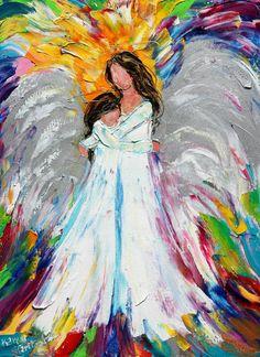 Original oil painting Angel Hugs palette knife by Karensfineart