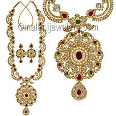 Diamond Villandi Exquisite Polki Necklace Set 22 Karat Gold.