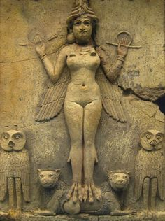 Queen of the Night (The Burney Relief); Mesopotamian terracotta plaque from Southern Iraq, dated between 1800 and 1750 BCE.