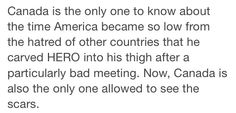 America Headcanon. (As someone who has self harmed, I know how America was feeling)