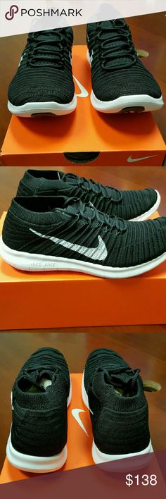 Nike Run Motion Flyknit Running Sneakers Nike Women's Free Run Motion Flyknit Black Running Sneakers Size 6.5. Brand New in Box and never worn. Comes from a smoke free and pet free home. Nike Shoes Sneakers
