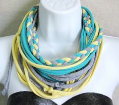 T Shirt Scarf - Infinity scarf - jersey scarf - recycled tshirt scarf - Pastel colors scarf. $15.00, via Etsy.