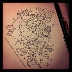 Lots going on here, all requested. For an ankle/lower part of lower leg tomorrow #tattoo #tattoos #key #bottle #drinkme #rose #butterfly #sketch #linedrawing #process  (Taken with Instagram)