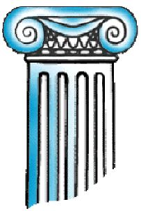 """One of the three main orders of classical Greek architecture. It is characterised by two opposed volutes in the capital. Below the volutes, the Ionic column may have a wide collar or banding separating the capital from the fluted shaft. Or some fruit and flowers may swing from the clefts formed by the volutes, or from their """"eyes."""""""