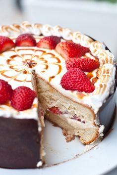 Strawberry tres leche cake...
