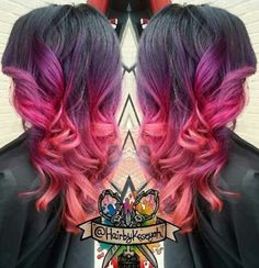 pink ombre dyed hair color