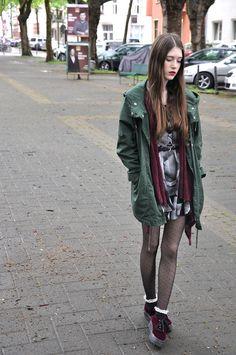 Laura R. - Weekday Dress, H&M Belt, Gina Tricot Cardigan, Monki Parka, Atmosphere Tights, Asos Socks, H&M Velvet Platforms - Velvet platforms | LOOKBOOK
